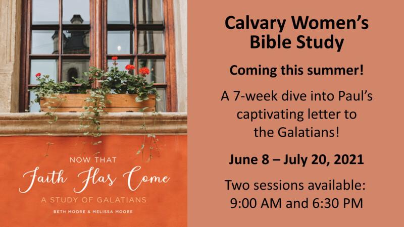 Calvary Women's Bible Study 2021 – 6:30 PM
